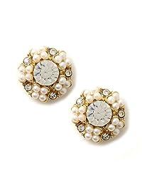 金色珍珠和水晶宝石大圈耳坠