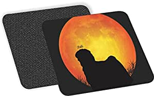 "Rikki Knight""Norwich Terrier Dog 剪影 Moon Design""柔软方形啤*杯垫(2 件套),多色"