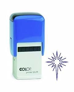 Colop Printer Q24 印有星球图章的印章 - 蓝色