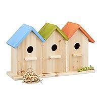Relaxdays 木制鸟舍,3个嵌套盒,阳台或花园装饰性培育辅助器,高 x 宽 x 深:23 x 40 x 12.5 厘米,彩色