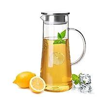 玻璃水壶耐热冷水壶 大容量耐热玻璃壶 花茶果汁杯热饮家用凉水壶凉茶壶 (1500ML两个)