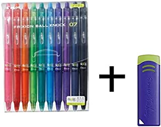 Pilot FriXion Ball Knock 全彩套装,可擦除凝胶墨水圆珠笔 0.7mm 所有 10 种颜色笔,橡皮擦蓝