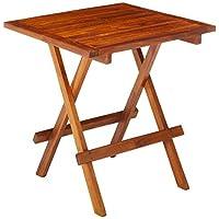 Bare Decor Ravinia 折叠柚木小桌,油光表面