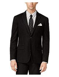 Bar III 男士修身条纹针织西装外套黑色组合 40L