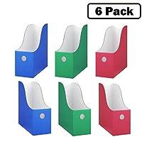 杂志文件夹组合(6 件套,2 件红色,2 件蓝色,2 件*)坚固的纸板杂志夹,文件夹收纳盒,杂志收纳盒,杂志收纳盒,文件收纳或书盒