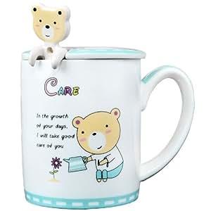 REMEC 金禹瑞美 骨瓷5D勤奋熊卡通创意环保盖杯(亚马逊自营商品, 由供应商配送)