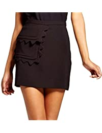 Victoria Beckham 女士斜纹裙,带扇贝饰边口袋