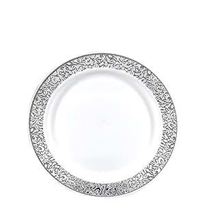 "Gourmet Home Products 12 只装优质重用塑料餐盘,10.5 英寸,白色/银色 White/Silver, Metallic Lace 7.5"" 146965"