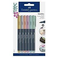 Faber-Castell 辉柏嘉 160706 – 金属色记号笔,防水笔尖,带纤维笔尖,1.5毫米粗细,适用于多种表面,带金色,银色,青铜色,紫色,蓝色,*,6件套