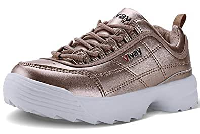 Caitin 儿童休闲散步鞋轻便皮革时尚运动鞋,适合女孩和男孩(小童/大童) 金色 12 Little Kid