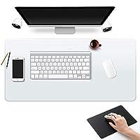 """办公桌桌垫顶面书桌书桌垫 防水 PU 皮革垫 透明键盘鼠标垫 电脑桌保护垫 Blotter 椅垫 硬木硬瓷砖地垫 20"""" X 36"""" Inch 透明"""