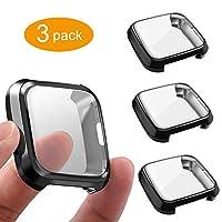3 件装屏幕保护膜兼容 Fitbit Versa Lite 版,GHIJKL 超薄柔软全包 适用于 Fitbit Versa Lite 版 Versa Lite: Black, Black, Black