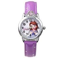 Disney 迪士尼 儿童手表女孩学生卡通表夜光皮带腕表女童石英表紫色