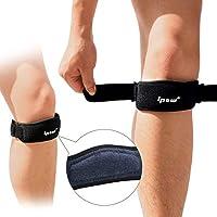 IPOW 2 片装加厚垫和宽膝盖骨护膝,可缓解膝盖肌腱*,可调节护带适用于远足、篮球、跑步、跳线膝、排球、*、*、受伤恢复