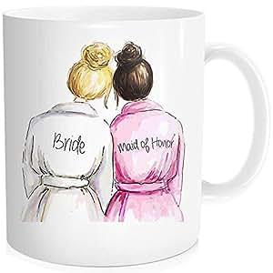 WalDeal 1 件套,尊贵与新娘*好的朋友礼物。 婚礼咖啡杯,325ml Fine Bone 陶瓷白色 maid of honor 2 11 oz BoneMug165498-216583-White-48