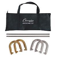 Champion Sports Horseshoe 套装:传统户外草坪游戏包括 4 个专业实心钢马蹄形,配有实心钢桩和便携收纳盒