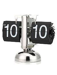 海伦倍尔 自动翻页钟 小天平客厅座钟 复古创意单脚个性艺术座钟 翻页钟表 静音机芯 复古不锈钢单脚创意 翻页钟 台钟