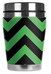 "Mugzie Chevron ""Mini""旅行杯,带隔热潜水服套 黑色/绿色 12盎司 996-MMZ"