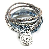 Balla 手镯灰色和蓝色水晶 I Love You A Bushel and a Peck Strength Bracelet Strength Stack