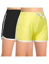 GORLYA 2 件装女孩运动服上打扮锻炼健身房运动跑步休闲海豚短裤