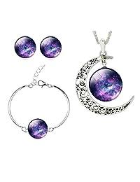 4 件银河玻璃艺术珠宝套装 紫色 Galaxy