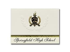 标志性公告 Springfield 高中(拉普林菲尔德,LA)毕业宣布,总统风格,25 片精英包装带金色和黑色金属箔封条