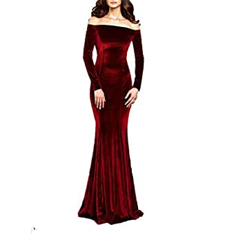 TTYbridal 露肩天鹅绒晚礼服 长款舞会礼服 带两个袖 *红色 10