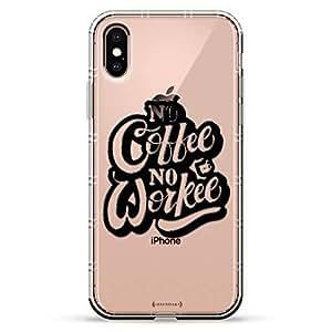 Luxendary Air 系列透明硅胶保护套 3D 印花设计气袋缓冲缓冲 iPhone Xs/X(5.8 英寸屏幕)LUX-IXAIR-QCOFFEE3 No Coffee No Workee Quote 透明