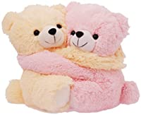 Dimpy Stuff Cute Pink and Cream Bear Couple Soft Toy, Pink (9.8-inch)