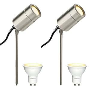 2 个装 LED 不锈钢尖头插杆 户外花园尖头插杆灯  IP 防护等级54 可调节尖头插杆 GU 10LED 尖头插杆
