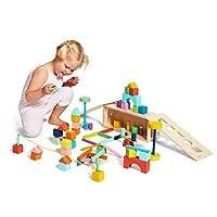 Lovevery 積木套裝 - 實木積木和形狀 + 木質收納盒,70 塊,18 種顏色,20 種以上活動