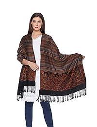 印度羊毛双面披肩披肩适用于婚礼派对伴娘舞会(黑色,71.12 厘米 x 203.2 厘米)
