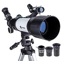 Quintessy 望远镜 | 儿童望远镜 | 成人可伸缩 | 便携式 400 x 70 毫米天文折射器 | 非常适合初学者天文礼物 | 可调节坚固的三脚架 | 无需工具