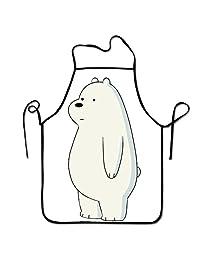 可爱站立冰熊 We Bare Kitchen 围裙长款系带可调围嘴围裙成人围裙烹饪烘焙烧烤