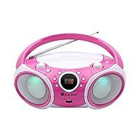 SINGING WOOD CD 播放器Boombox,CD/CDRW/CD-MP3便携式/w蓝牙,USB,AM/FM收音机,AUX输入,耳机插孔,可折叠手柄和LED灯SBX030BTL-PK
