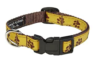 "Sassy Dog Wear 5/8"" x 10""-14"" Puppy Paws Dog Collar, Small, Yellow/Brown"