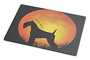 Rikki Knight Welsh Terrier Dog Silhouette by Moon Large Glass Cutting Board