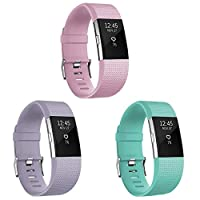 SKYLET 兼容 Fitbit Charge 2 表帶軟硅膠替換腕帶,適用于 Fitbit Charge 2 表帶(無追蹤器)