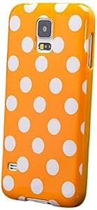iCues & S5 兼容三星 Galaxy S5 NEO & S5 ' 波点手机壳橙色 √ 【含屏幕保护膜】耐用时尚外壳可爱光面封面 TPU 图案女士女孩