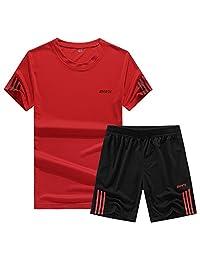 MOHUI 墨回 夏季男士套装 T恤男士短袖运动服 修身t恤休闲短裤套装 男 半袖休闲两件套 001