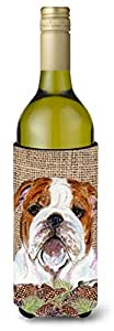 Bulldog English on Faux Burlap with Pine Cones Michelob Ultra Koozies for slim cans SS4075MUK 多色 750 ml