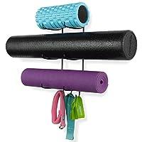 Wallniture Guru 壁挂式瑜伽垫泡沫滚轮和毛巾架带 3 个挂钩,用于悬挂瑜伽带和阻力带在您的健身课或家庭健身房 3 段金属上