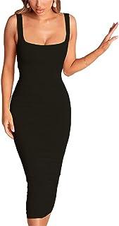 PRIMODA 女式方形领无袖背心紧身中长款连衣裙性感褶饰俱乐部连衣裙