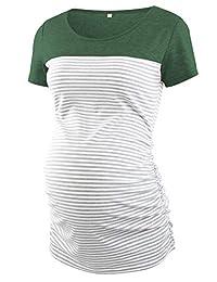 CareGabi 孕妇上衣女式短袖圆领条纹衬衫