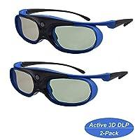 Active Shutter 3D 眼镜,Cocar 3D DLP Link 眼镜可充电 3D 眼镜,适用于 Acer ViewSonic BenQ Optoma Cocar Toumei Philips Panasonic Vivitek Dell 3D 投影仪 蓝色 - 2 件装