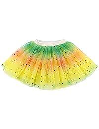 Lullaby 4 层婴儿薄纱芭蕾舞短裙女孩彩虹闪耀芭蕾舞短裙 黄色 Baby for 6-18 Months