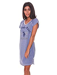 U.S. Polo Assn. Women's Short Sleeve V Neck Dorm Sleepshirt with Signature Graphics