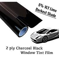 "The Online Liquidator 3.02 米黑色车窗贴膜未裁卷 - *暗的阴影酸橙色 5% VLT 适用于汽车和住宅隐私玻璃 方便 DIY 24"" x 10' ft"