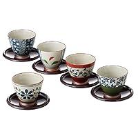 西海陶器染锦配色 仙茶茶杯套装 附茶托 13041