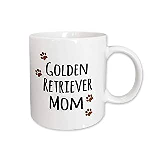 3dRose mug_154126_2 Golden Retriever Dog Mom Doggie by Breed Brown Paw Prints Doggy Lover Proud Pet Owner Love Ceramic Mug, 15 oz, White